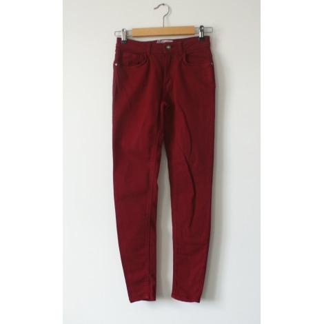 Jeans slim ZARA Rouge, bordeaux