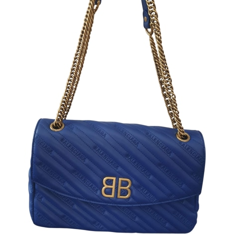 Sac en bandoulière en cuir BALENCIAGA BB Chain Bleu, bleu marine, bleu turquoise