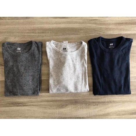 T-shirt H&M Bleu marine, blanc chiné, gris