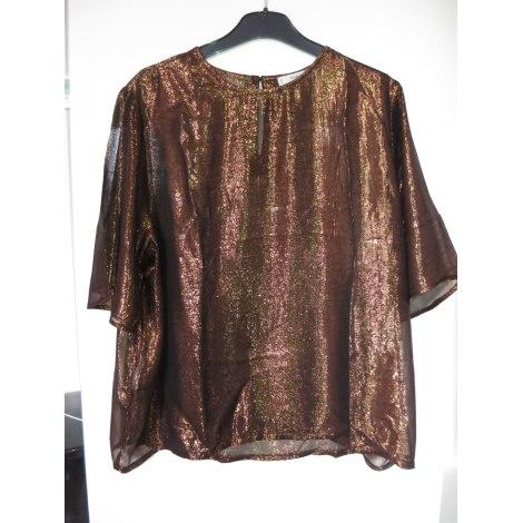 Top, tee-shirt MANGO Doré, bronze, cuivre