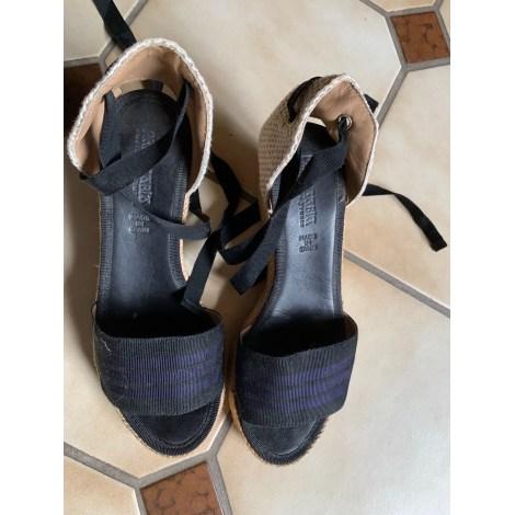 Sandales compensées PARE GABIA Noir