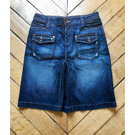 Jupe en jean USED JEANS Bleu, bleu marine, bleu turquoise