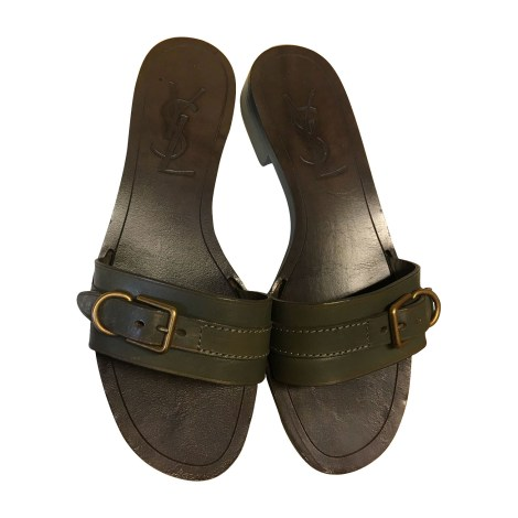 Flat Sandals YVES SAINT LAURENT Khaki