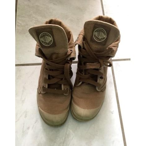 Bottines & low boots motards PALLADIUM Taupe