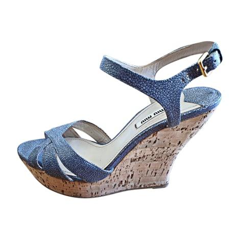 Sandales compensées MIU MIU Bleu, bleu marine, bleu turquoise
