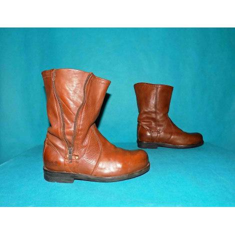 Santiags, bottines, low boots cowboy PALLADIUM Marron