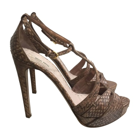 Sandales à talons MIU MIU Beige, camel