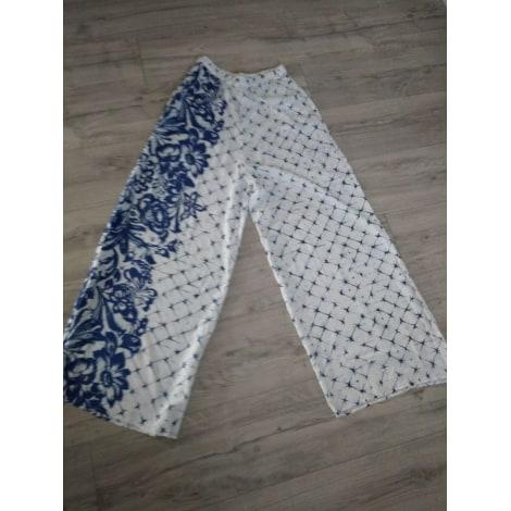 Pantalon très evasé, patte d'éléphant DESIGUAL bleu et blanc