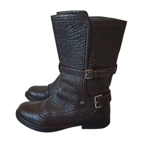 Bottines & low boots plates MIU MIU Marron