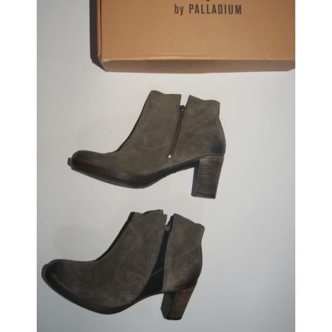 Bottines & low boots à talons PALLADIUM gris taupe marron