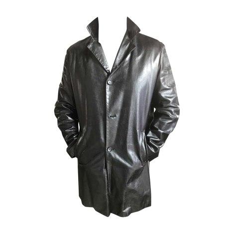 Manteau en cuir JIL SANDER Noir