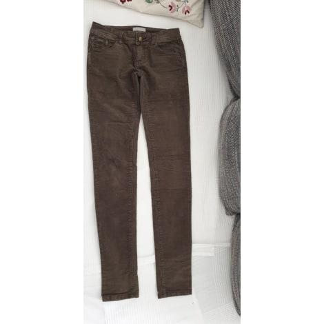 Pantalon slim, cigarette PROMOD Marron