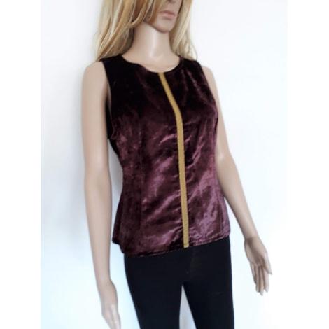 Top, tee-shirt BARBARA BUI prune avec liseret or