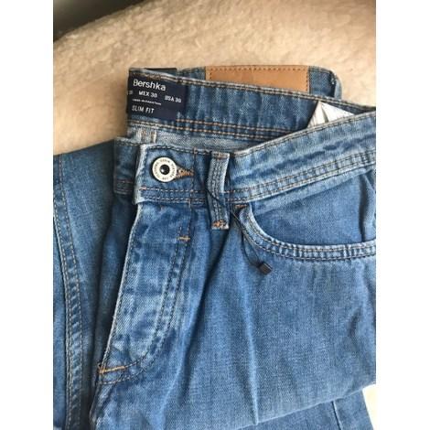 Jeans droit BERSHKA Bleu, bleu marine, bleu turquoise