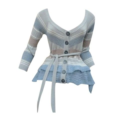 Gilet, cardigan SAVE THE QUEEN rayé bleu ciel/gris argent/beige rosé/blanc