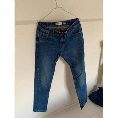 Jeans slim BERSHKA Bleu, bleu marine, bleu turquoise