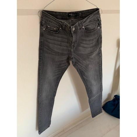 Jeans slim BERSHKA Gris, anthracite