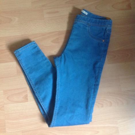 Pantalon slim, cigarette BERSHKA Bleu, bleu marine, bleu turquoise