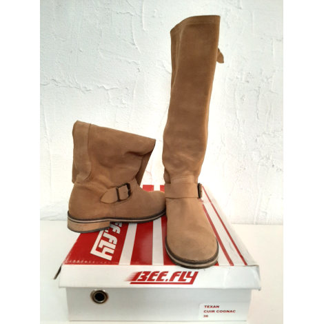 Santiags, bottes cowboy BEE FLY Beige, camel
