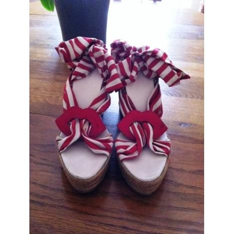 Sandales compensées SONIA RYKIEL Rouge, bordeaux