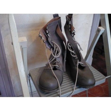 Bottines & low boots plates LA REDOUTE Kaki