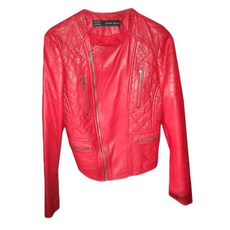 giacca di pelle rossa zara