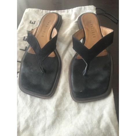 Sandales plates  PARALLÈLE Noir