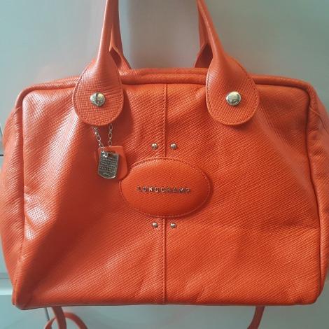En Longchamp À Cuir Orange Main Sac SqzwEPq