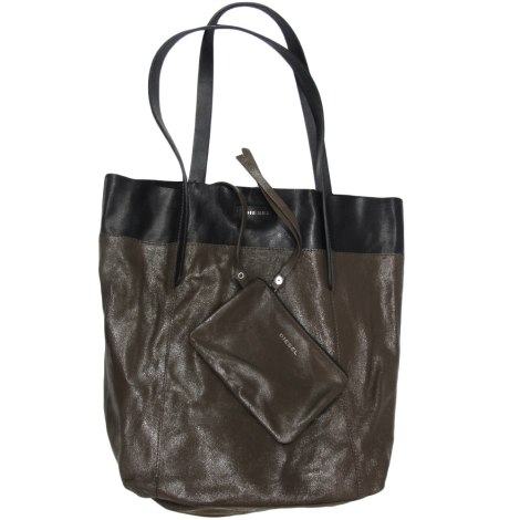 sac main en cuir diesel noir marron 6174052. Black Bedroom Furniture Sets. Home Design Ideas