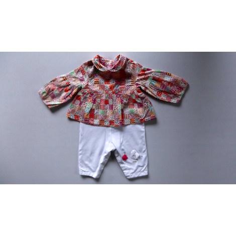 Ensemble & Combinaison pantalon MARÈSE Très coloré pour le haut à  à dominante rouge, rose, orange , pantalon blanc