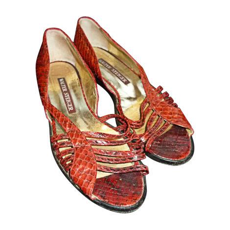 Sandales plates  WALTER STEIGER Rouge, bordeaux