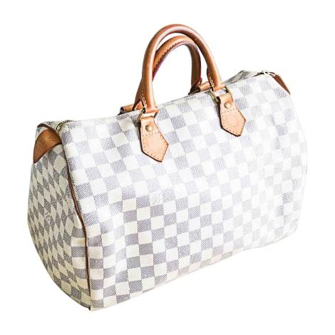 Leather Handbag LOUIS VUITTON Speedy White, off-white, ecru