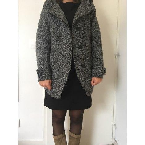 Veste longue gris fonce femme
