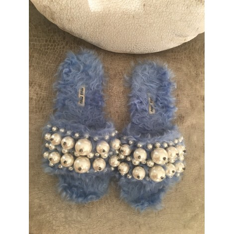 Sandales plates  MIU MIU Bleu, bleu marine, bleu turquoise