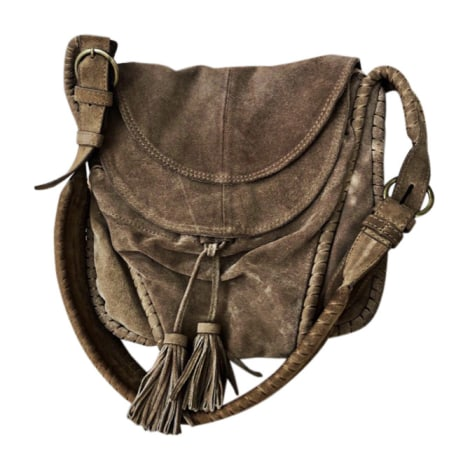 Leather Shoulder Bag VANESSA BRUNO Beige, camel