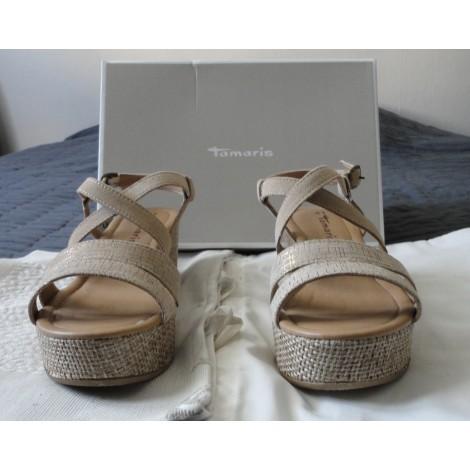 Sandales compensées TAMARIS Beige, camel