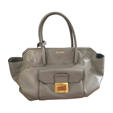 Leather Handbag MIU MIU Gray, charcoal