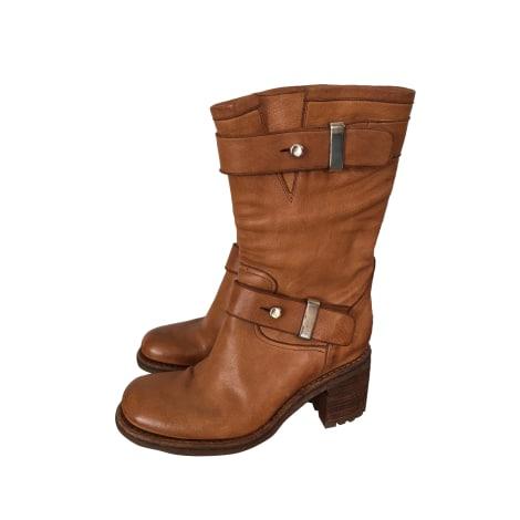 bottines low boots motards free lance 37 5 beige 7703254. Black Bedroom Furniture Sets. Home Design Ideas
