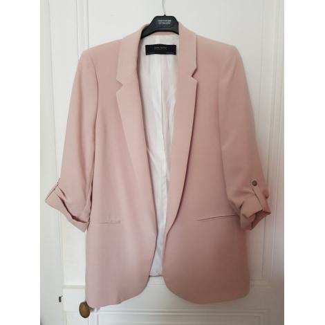 Giacca Zara ,colore rosa cipria, cotone e lino Depop