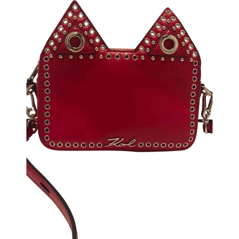 Leather Shoulder Bag KARL LAGERFELD Red, burgundy