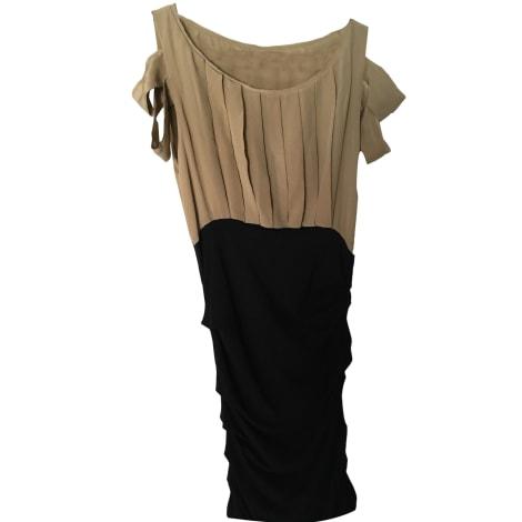 Maje Robe courte soie kaki 38 (M, T2)