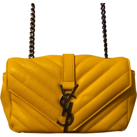 Sac à main en cuir SAINT LAURENT Jaune