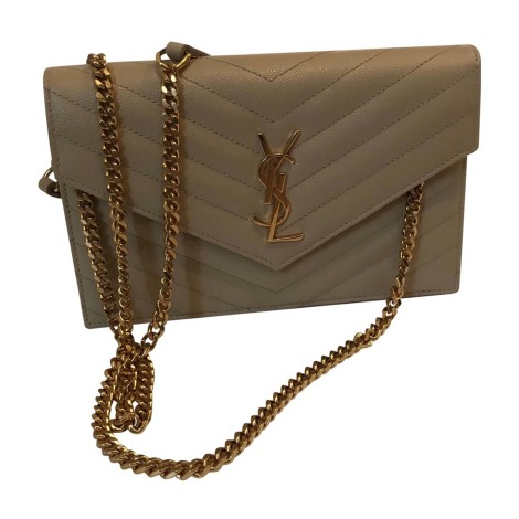 Leather Clutch YVES SAINT LAURENT Beige, camel