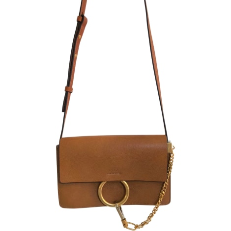 Leather Shoulder Bag CHLOÉ Faye Beige, camel