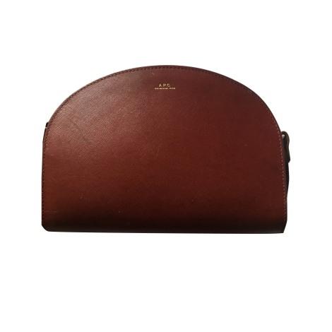 Leather Handbag APC Red, burgundy