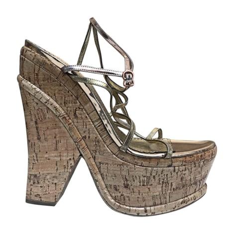 Sandales compensées JOHN GALLIANO Doré, bronze, cuivre