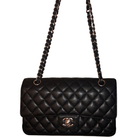 Sac à main en cuir CHANEL Timeless Noir