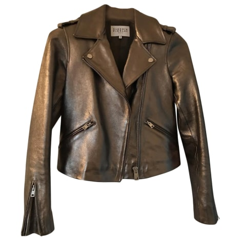 Leather Zipped Jacket CLAUDIE PIERLOT Silver