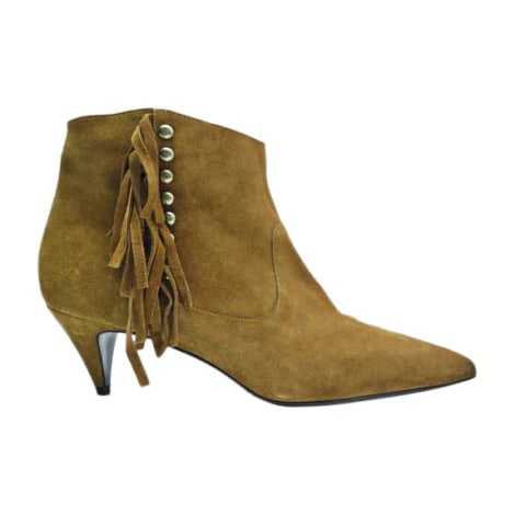 High Heel Ankle Boots SAINT LAURENT Beige, camel
