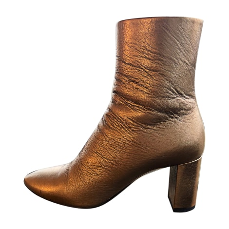 Bottines & low boots à talons SAINT LAURENT Doré, bronze, cuivre
